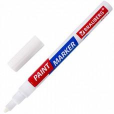 Маркер-краска лаковый EXTRA (paint marker) 2 мм, БЕЛЫЙ, УЛУЧШЕННАЯ НИТРО-ОСНОВА, BRAUBERG,